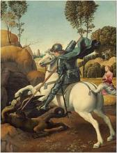St George and the Dragon<br>painted by Raphael in<br>about 1505